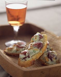 Gorgonzola, Grape and Pine Nut Crostini made with delicious Grapes from California