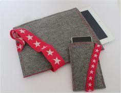 set hoezen voor smartphone en tablet van designedbyJuud op Etsy #smartphone #tablet #handmade #shop #star #sleeve #cover