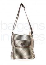 Ladies Lightweight Canvas Striped Shoulder Bag