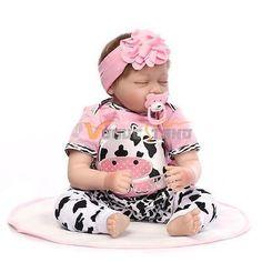"Reborn Toddler Dolls 22"" Handmade Lifelike Baby Solid Silicone Vinyl Boy Doll PK"