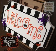 DIY Halloween : DIY Spider Web Welcome Sign DIY Halloween Decor