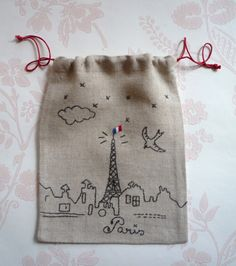 Juli in Paris . - Fanny Véron - - Juli in Paris . Embroidery Bags, Hand Embroidery Designs, Cross Stitch Embroidery, Embroidery Patterns, Machine Embroidery, Broderie Simple, Paris, Fabric Crafts, Needlework