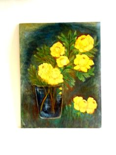 """Vintage Oil Painting on Canvas Board signed Daks unframed """" Yellow Roses in Vase""""  1968"""