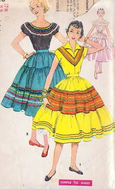 Square-dance dresses with rick-rack trims.  They were called squaw dresses.