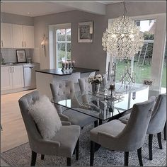 chairs - 124 outstanding dining room table decor ideas page 8 Dining Room Table Decor, Elegant Dining Room, Luxury Dining Room, Dining Room Design, Living Room Decor, Dinning Room Ideas, Glass Dining Table, Dining Room Furniture, Dining Rooms