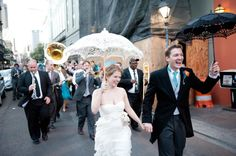New Orleans Wedding - Second Line Parade (so happy I was a part of it! Second Line Parade, Brass Band, New Orleans Wedding, Wedding 2015, Something Blue, The Places Youll Go, Groom, Weddings, Bride