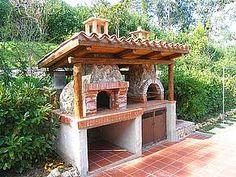 Seaside holiday home in Scario (Cilento) - Villa Patrizia. Backyard Kitchen, Outdoor Kitchen Design, Pizza Oven Outdoor, Outdoor Cooking, Bbq Bar, Fire Pit Bbq, Four A Pizza, Outdoor Dining, Outdoor Decor