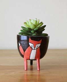 Husband-and-wife designers (and Etsy sellers) Alicia Zwicewicz and Josiah Henderson make smile-inducing ceramics that turn a fox's feet into supports for a planter, a cat's tail into a mug handle, and more cute critter adaptations for their Montreal-based shop Beardbangs. #etsyfinds