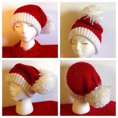 Knit Crochet Adult Women's Men's Slouchy oversize Santa elf Christmas hat