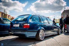 Avus blue BMW e36 touring on Rial Mesh wheels