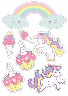 Lindo topo de bolo com temas de unciornios para festas infantis Unicorn Crafts, Unicorn Art, Unicorn Themed Birthday, Unicorn Pictures, Baby Frame, Unicorn Stickers, Printable Planner Stickers, Printables, Birthday Cake Toppers