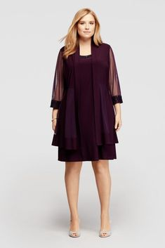 Two Piece Jacket Dress with Beaded Lace Trim Style 8501WWP