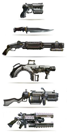 Enin Leonid Enin Concept Art and Illustration weapons guns knife pistol rifle equipment gear magic item Sci Fi Weapons, Weapon Concept Art, Weapons Guns, Fantasy Weapons, Fallout Weapons, Zombie Weapons, Steampunk Weapons, Sci Fi Waffen, Laser Tag