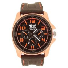 Cross Hatch Gents Chrono Effect Metalic Orange Bezel Black Silicone Watch CRS31C