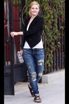 Drew Barrymore does denim and Birkenstocks.