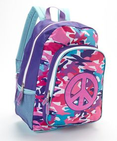 Look what I found on #zulily! Pink Color Blast Camo Peace Sign Backpack #zulilyfinds