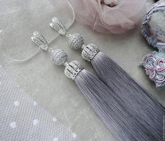 """Купить Серьги кисти """"Premium Lux Lilu"""" шелк - бледно-сиреневый, лиловый, серьги, сережки"""