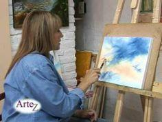Desde su taller, Gabriela Galano enseña pasos básicos para pintar cielos con diferentes tonos de óleo.