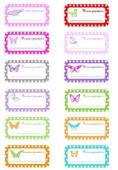 Étiquettes de rentrée scolaire pour cahier à imprimer (free printable)