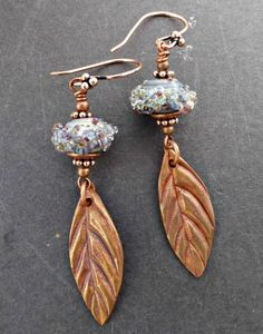 Leaves. Lampwork Glass and copper metal earrings. -  - McKee Jewelry Designs - 1