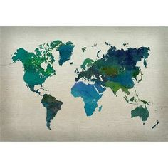 (13x19) World Map Watercolor (Cool) Art Print Poster Poster http://www.amazon.com/dp/B00I44B6KC/ref=cm_sw_r_pi_dp_9Quiwb09J8MAT