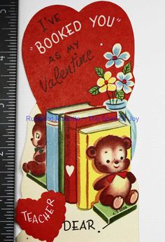 Vintage Valentine Greeting Card Kids BOOKED YOU Books Teacher