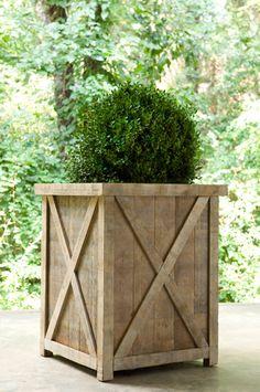 azobe rectangle planter - outside front of garage
