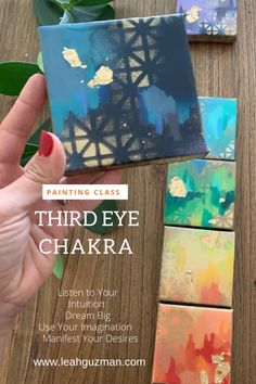 The Third Eye Chakra can be balanced and strengthened through art. Artist Leah Guzman guides you with techniques of visualization, journaling and a painting video to dream big, use your imagination to manifest your desires. Learn more at www.leahguzman.com #chakras #meditation #painting #yoga