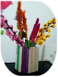 Vases from plastic jar and ice cream stick #DIY #craft #design
