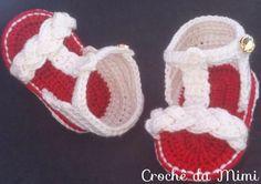 """Sandalinha de croche para bebe com trança - """"Crochê da Mimi"""""""
