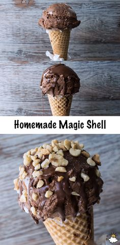Melt chocolate and coconut oil together for a sinfully sweet Homemade Magic Shell Recipe. Our Magic Shell Recipe is simple, quick and decadent and perfect for a single scoop of ice cream or you can pour it over an entire sundae!