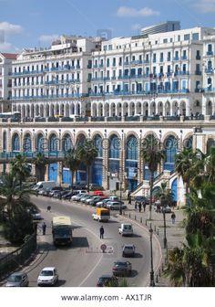 Boulevard Ernesto Che Guervara (up) and rue d'Angkor (down), Algiers capital city, Algeria Stock Photo