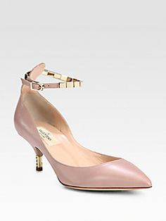 Valentino - Cube Ankle Strap Leather Pumps