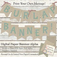 Printable Burlap pennant Banner Alphabet Wedding by songinmyheart
