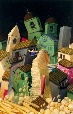 Botero, Fernando - Earthquake - New Image Painting - Architecture - Oil on canvas