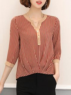 AdoreWe - Fashionmia Split Neck Vertical Striped Blouse - AdoreWe.com