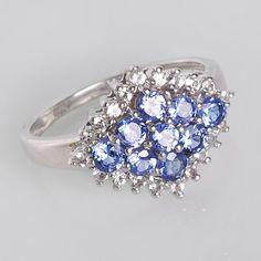 Tanzanite White Topaz Ring Blue Gemstone Ring by ArihantJewelry