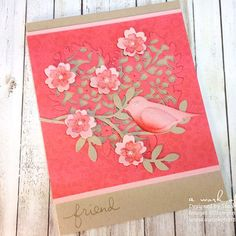 Hello Stampers! I wanted to share this cute bird card that I made with the Bloomin' Hearts Thinlits Dies. Isn't it just the cutest! I have to admit, I totally CASE'd this card from one…