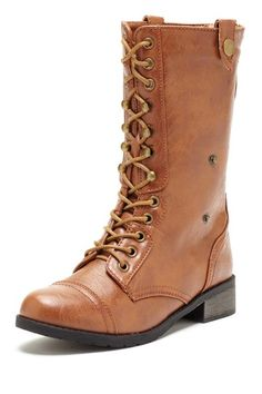 Carrini  Back Zip Lace Up Combat Boot