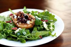 Thanksgiving salad with roasted pear, walnuts, cranberry, and blue cheese...