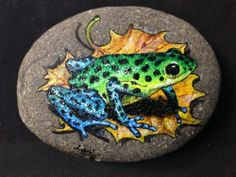 "Hand Painted Signed Rock ""Green Frog"""