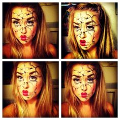 Cracked porcelain doll makeup. Would love to try this for Halloween x
