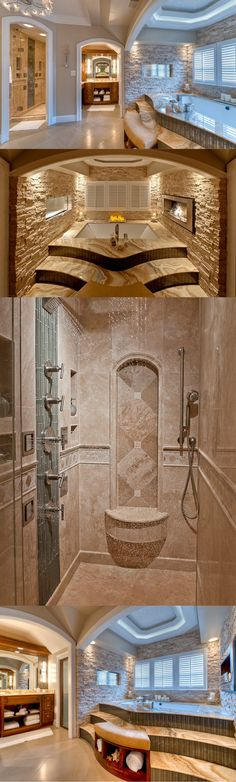 A stunning bath that our Sterling, VA store worked on a couple years ago. We love the architectural stone surrounding the spa and the rain shower. #tile #tileinspiration #bathroom #bathroominspiration #stonetile #glasstile #rainshower #spa #masterbath #travertine #naturalstonetile