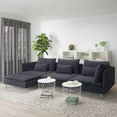 SÖDERHAMN sofa – with chaise longue, samsta dark gray – IKEA Austria - living room furniture sectional Söderhamn Sofa, Modular Sectional Sofa, Sofa Beds, Ikea Soderhamn, Ikea Sofas, Ikea Couch, Dark Grey Couches, Design Salon, Bed Slats