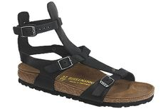 Birkenstock Chania Black Oiled Leather A sandal for the urban gladiatress! This delicate sandal is designed for adventurous women on the go, with three points of adjustment for a perfect fit. Unlike it's predecessor, this one has Birkenstock's classic cork footbed for perfect support. #birkenstock #birkenstockexpress.com  $130