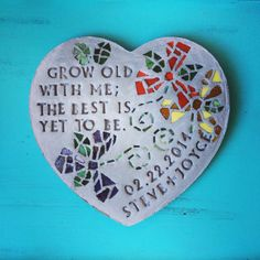 personalized stepping stone with mosaic glass flowers (heart)