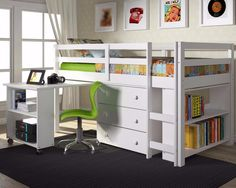 Twin Loft Bed with Desk and Storage - White