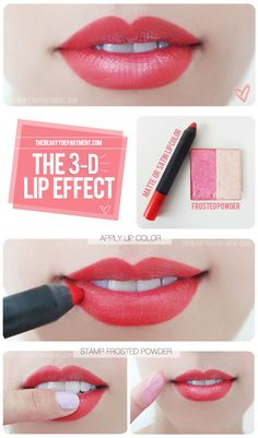 Use pale frosted eyeshadow to get fuller, 3D lips.   27 DIY Beauty Hacks Every Girl Should Know