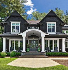 Black Exterior Black shingle home We chose black cedar shake as it represents a . - Black Exterior Black shingle home We chose black cedar shake as it represents a classic, timeless l - Design Exterior, Black Exterior, Exterior Siding, Gray Siding, Exterior Windows, Craftsman Exterior, Craftsman House Plans, Modern Exterior, Dream House Exterior