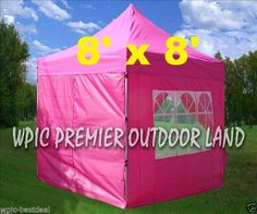 8' x 8' Pop Up 4 Wall Canopy Party Tent Gazebo EZ Pink